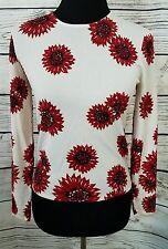 Oscar de la Renta NWT Sweater Top Ivory /Red Beaded Floral Sz Petite Retail $280