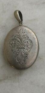 Superbe ancien pendentif porte photo double en argent massif