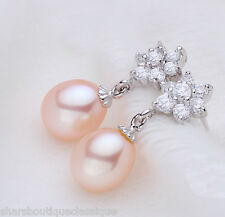 Genuine Real Freshwater Pearl Earrings Peach Drop Dangle In Solid 925 Silver New