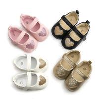 New Shinning Heart Shaped Princess Mary Jane Infant Baby Girls Soft Sole Shoe