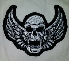 SKULL WITH WINGS MOTORCYCLE BIKER EMBROIDERED VEST PATCH IRON ON NEW