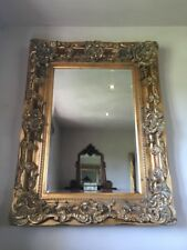 CHAMPAGNE ANTIQUE GOLD FRENCH OVERMANTLE CHUNKY WOOD WALL MIRROR 4FT x 3FT