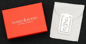 James Avery Sterling Silver Rare Musical Note Bookmark Clip w/ Pouch & Box