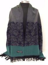 Women Blanket Tartan 100% Cashmere Scarf Wrap Shawl Plaid Gray/navy blue/green