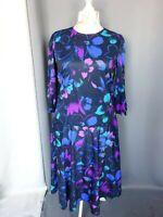 Robe vintage imprimé imprimé fleure bleu bon état Taille FR44 US12 UK16 EUR42