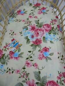 Bassinet Fitted Sheet Peony Vine Cream Pure Cotton  FITS STANDARD BASSINET