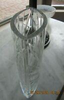 """Large Vintage Etched Heavy Lead Vase 10"""" tall Unusual Shape"""