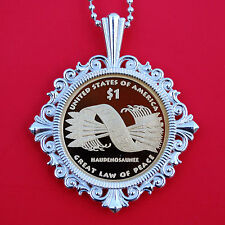 US 2010 Native American Sacagawea Dollar Proof Coin 925 Sterling Silver Necklace