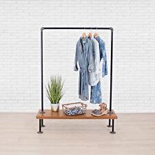 Industrial Pipe Clothing Rack with Cedar Wood Shelf by William Robert's Vintage