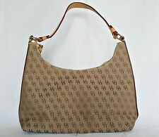 VINTAGE AUTHENTIC DOONEY & BOURKE COTTON WOOL LEATHER HANDBAG SHOULDER HOBO BAG