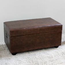 Ordinaire International Caravan Carmel Faux Leather Bench Trunk In Brown