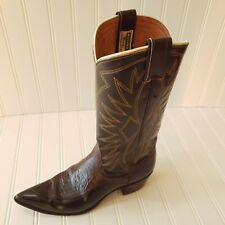 Vtg 60s Nocona Womens Sz 7N Cowboy Western Boots Chocolate Brown Leather w/ Box