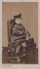 Enfants au fusil par Pierre Petit Carte de visite Vintage albumine ca 1860