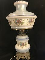 """VINTAGE 25"""" ACCURATE CASTING BLUE FLORAL GONE WITH THE WIND 3 WAY HURRICANE LAMP"""