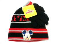 DISNEY Junior Mickey Boys Black Red BEANIE & GLOVES Set NWT