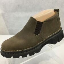 Born Ankle Boots Leather Sz 6 Slip on Chunky Hiking Walking Brown Casual