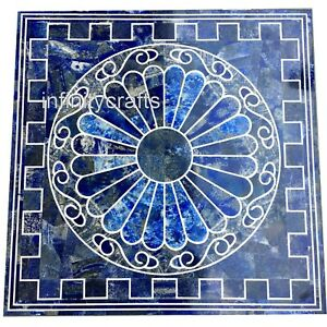24 Inches Marble Square Center Table Top Blue Patio Coffee Table with Mosaic Art