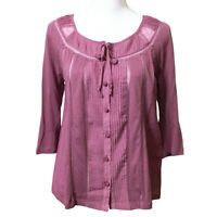 Anthropologie Deletta Top Small Mauve Pink Shirt Blouse Cotton Silk Button Down