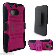 HTC One M8 case and Belt Clip Holster with stand Pink on Black