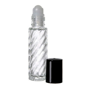 10 ml (1/3 oz) Flint/Fancy/Swirl Roll On Glass Bottles