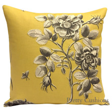 """Sanderson Etchings & Roses Empire Yellow Cushion Cover 16"""""""