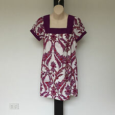 'JEANS WEST' BNWT SIZE '10' PINK, RED & WHITE COTTON/SILK SHORT SLEEVE DRESS