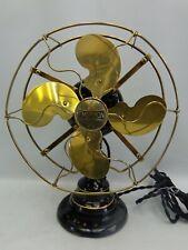 Antique Emerson 24645 brass fan detent lever oscillator hand brushed pin stripes