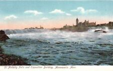 Postcard St Anthony Falls + Exposition Building Minneapolis Mn
