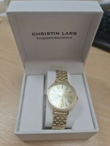 Christin Lars Ladies Gold Link Watch Boxed designed in Scandinavia dressy casual