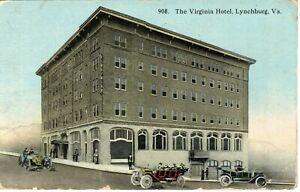 1918 LYNCHBURG VA - The Virginia Hotel + Cars - blue sky view