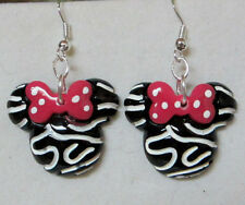 Minnie Mouse Zebra Red Bow 925 Earrings Disney Resin Nora's USA Handcrafted