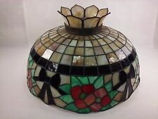 "Vintage Tiffany Style Stained Glass Large 24"" Hanging Lamp Shade 1Crack 00501010"