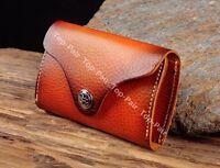 C86 Orange Brown Men Genuine Leather Car Key Case Card Holder Keychain For Women
