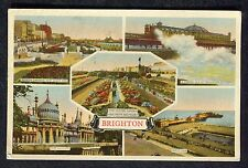 Posted 1938 Multiviews of Brighton: West Pier: Water Gardens: Pavilion