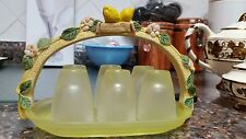 7 pc Lemoncello Verace Aperitif lemon Frosted Glass Serving Set from Italy