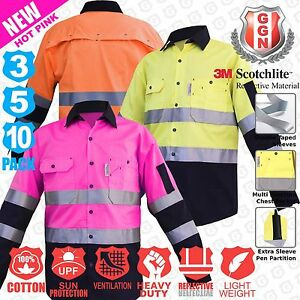 Hi Vis Shirts 3 5 10 pack Work wear Light Cotton Vents 3m Pink Yellow Orange