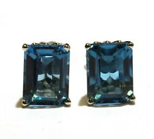 14k white gold London blue topaz emerald cut stud earrings 1.8g estate vintage