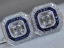 FANCY 2.02CTW DIAMOND SAPPHIRE 18K WHITE GOLD EMERALD CUT MENS CUFFLINKS C00104S