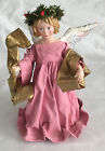 """Vintage 1988 Clothtique  Angel Tree Top Ornament by Possible Dreams 9"""" Pink Gown"""
