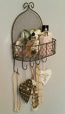SHABBY CHIC VINTAGE WIRE WALL SHELF HOOKS STORAGE DISPLAY BATHROOM KITCHEN KEY