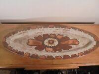 Céramique Vintage 60 Plat Ovale Floral XXL grès Émaillé Frères Picard VALLAURIS