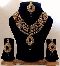 Indian Traditional antique Kundan Black Set Necklace and Earrings Gold Plated