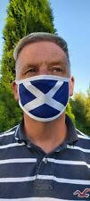 2 X Scottish Saltire face covering White wrap triple layer with pocket washable