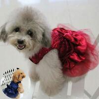 Clothes Bow Tutu Puppy Dress Pet Apparel Lace Dog Princess Skirt Costume Cat