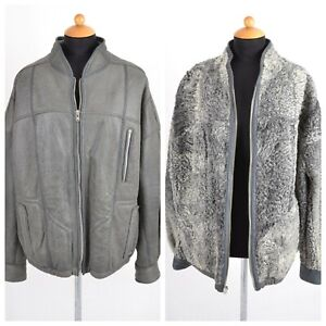 Men's leather jacket with the inside of Real Persian Lamb Fur Jacket Gray XL