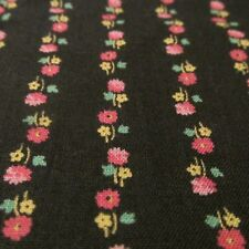 Vtg lightweight cotton fabric CALICO black pink flower row stripe Crantex BTHY