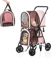 Luckyermore Pet Stroller Detachable Cage Folding Cat Dog Cart Puppy Jogging