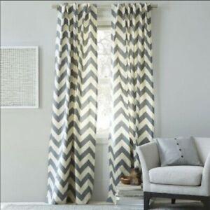 Set of 2 WEST ELM Chevron Curtain Panels Zig Zag Gray/Natural Linen Look 48 x 84