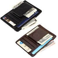 Men's Leather Slim Magnetic Money Clip Front Pocket Wallet ID Credit Card Holder