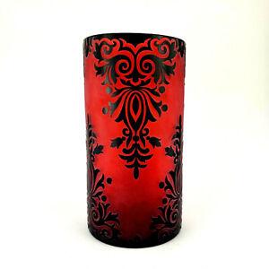 Halloween Candle Holder Hurricane Jar Glass Red Black Vampire Dracula